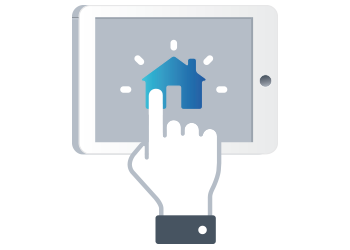 A hand with the index finger clicking a house icon on an iPad