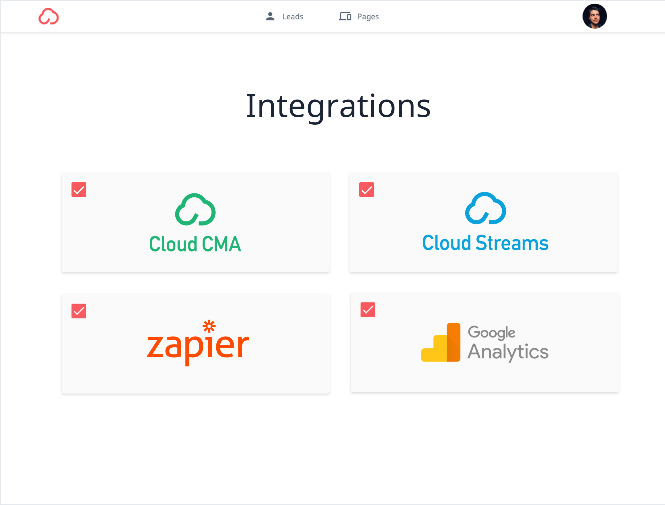A grid of cards with red checkmarks in their top-left corner are displayed, each featuring a single integration option from among Cloud CMA, Cloud Streams, Google Analytics, and WordPress.