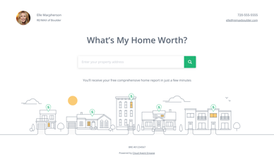 A Preview of the What's My Home Worth Lead Generating landing page